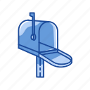 communication, letters, mailbox, open mailbox icon