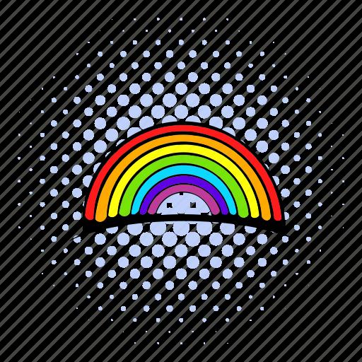 bright, comics, nature, orange, paint, rainbow, red icon