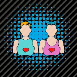 comics, couple, gay, heart, homosexual, love, male icon