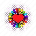 colorful, comics, heart, lesbian, living pictogram, love, rainbow icon