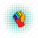 clothes, colorful, comics, equipment, gear, glove, rainbow icon