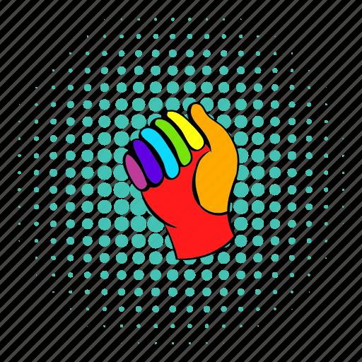 clothes, colorful, comics, equipment, gear, glove, rainbow icon