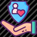 adoption, hand, love, rights icon