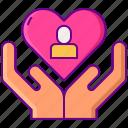 adoption, heart, human, rights icon
