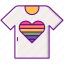 heart, lgbt, rainbow, shirt icon