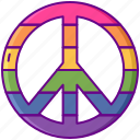 peace, rainbow, sign icon