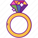 diamond, rainbow, ring icon