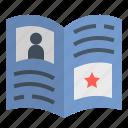 book, educate, journal, magazine, profile icon