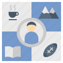 activity, hobby, lifestyle, plan, routine icon