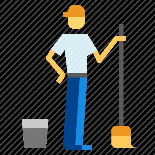 brush, bucket, clean icon