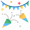 confetti, party, flag icon
