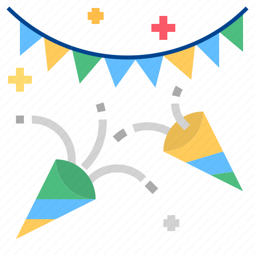confetti, flag, party icon