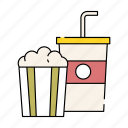 cinema, drink, lifestyle, movie, popcorn, soda, watching icon