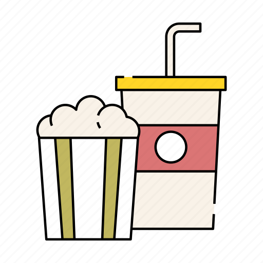 Cinema Drink Lifestyle Movie Popcorn Soda Watching Icon