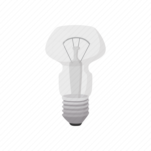 bulb, cartoon, concept, electricity, energy, idea, semicircular icon