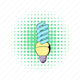 bulb, comics, electric, energy, fluorescent, idea, power icon