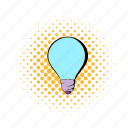 bulb, comics, electricity, energy, idea, light, lightbulb icon