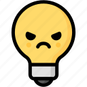 angry, emoji, emotion, expression, face, feeling, light bulb icon