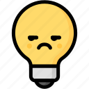 annoying, emoji, emotion, expression, face, feeling, light bulb icon