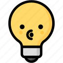 blowing, emoji, emotion, expression, face, feeling, light bulb icon