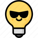 cool, emoji, emotion, expression, face, feeling, light bulb icon