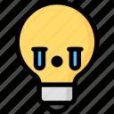 cry, emoji, emotion, expression, face, feeling, light bulb icon
