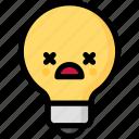 dead, emoji, emotion, expression, face, feeling, light bulb