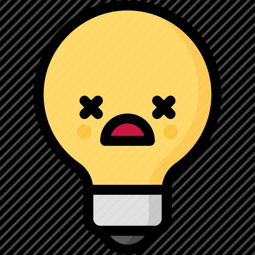 dead, emoji, emotion, expression, face, feeling, light bulb icon