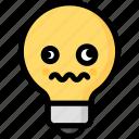 dizzy, emoji, emotion, expression, face, feeling, light bulb