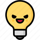 emoji, emotion, evil, expression, face, feeling, light bulb icon