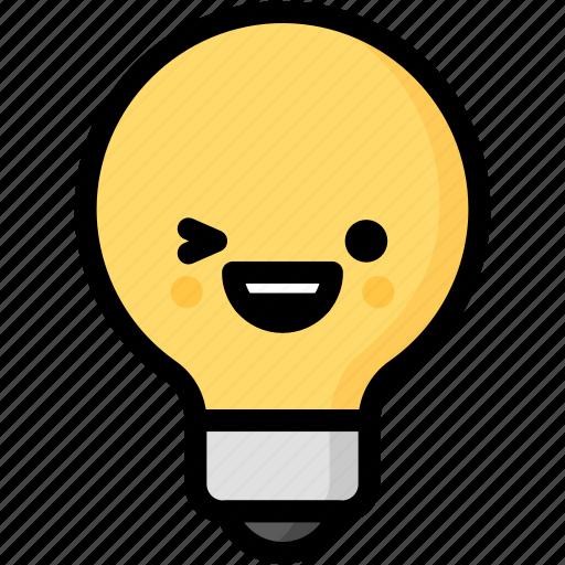 emoji, emotion, expression, face, feeling, happy, light bulb icon