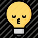 emoji, emotion, expression, face, feeling, kiss, light bulb