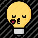 emoji, emotion, expression, face, feeling, kiss, light bulb icon