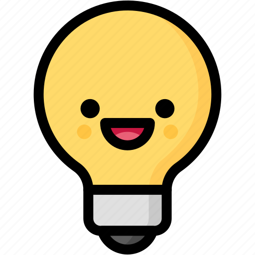 emoji, emotion, expression, face, feeling, laughing, light bulb icon