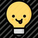 emoji, emotion, expression, face, feeling, light bulb, naughty