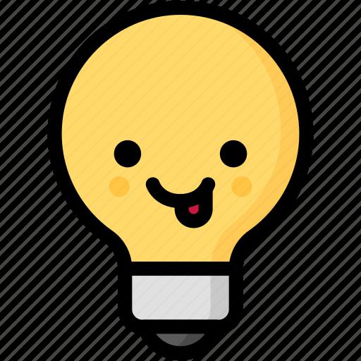 emoji, emotion, expression, face, feeling, light bulb, naughty icon