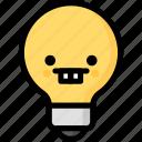 emoji, emotion, expression, face, feeling, light bulb, nerd icon