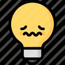 emoji, emotion, expression, face, feeling, light bulb, nervous