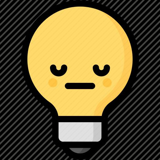 emoji, emotion, expression, face, feeling, light bulb, neutral icon