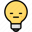 emoji, emotion, expression, face, feeling, light bulb, neutral