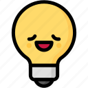 emoji, emotion, expression, face, feeling, light bulb, relax icon
