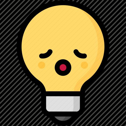 emoji, emotion, expression, face, feeling, light bulb, relax icon