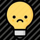 emoji, emotion, expression, face, feeling, light bulb, sad icon