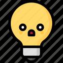 emoji, emotion, expression, face, feeling, light bulb, shocked icon