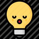 emoji, emotion, expression, face, feeling, light bulb, sleeping icon