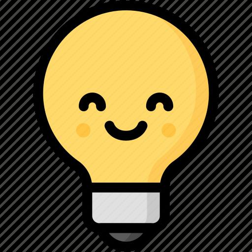 emoji, emotion, expression, face, feeling, light bulb, smile icon