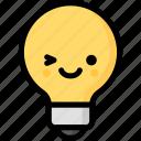 emoji, emotion, expression, face, feeling, light bulb, smile