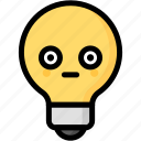 emoji, emotion, expression, face, feeling, light bulb, stunning icon