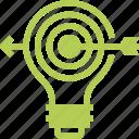 bulb, goal, idea, light, marketing, success, target