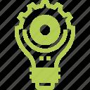 bulb, cogwheel, concept, development, idea, lamp, light